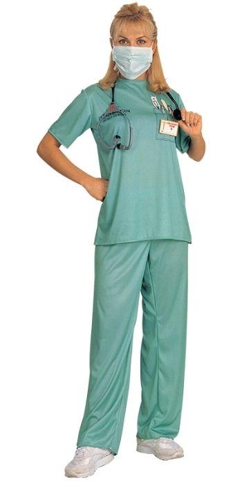 Mens ER Doctors Surgeon Scrubs Hospital Fancy Dress Nurses Outfit Halloween