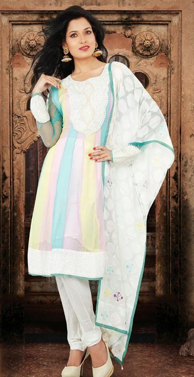 USD 117.49 White Resham Work Chiffon Anarkali Salwar Kameez  27087