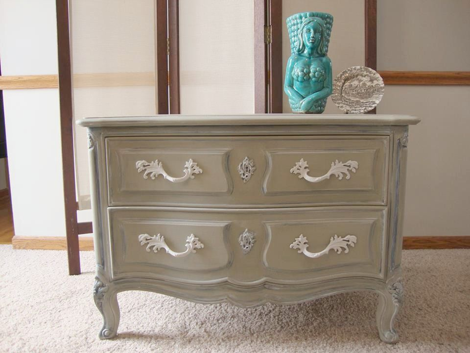 French Provincial 2 drawer dresser painted using