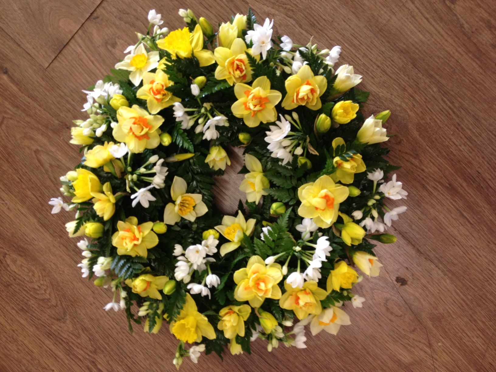 11 best funeral flowers images on pinterest funeral flowers daffodil wreath available in spring only call 0208 500 8833 for details izmirmasajfo