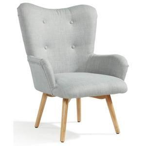 iris fauteuil scandinave en tissu effet lin gris chambre. Black Bedroom Furniture Sets. Home Design Ideas