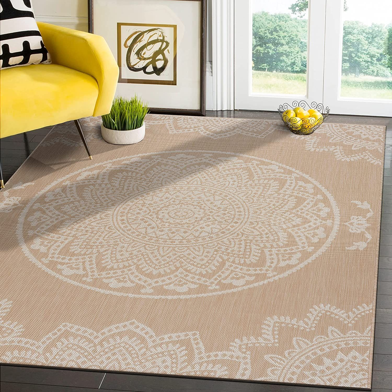 Modern Area Rugs for Indoor Outdoor patios   Medallion   Beige / White   5x7 Gallery