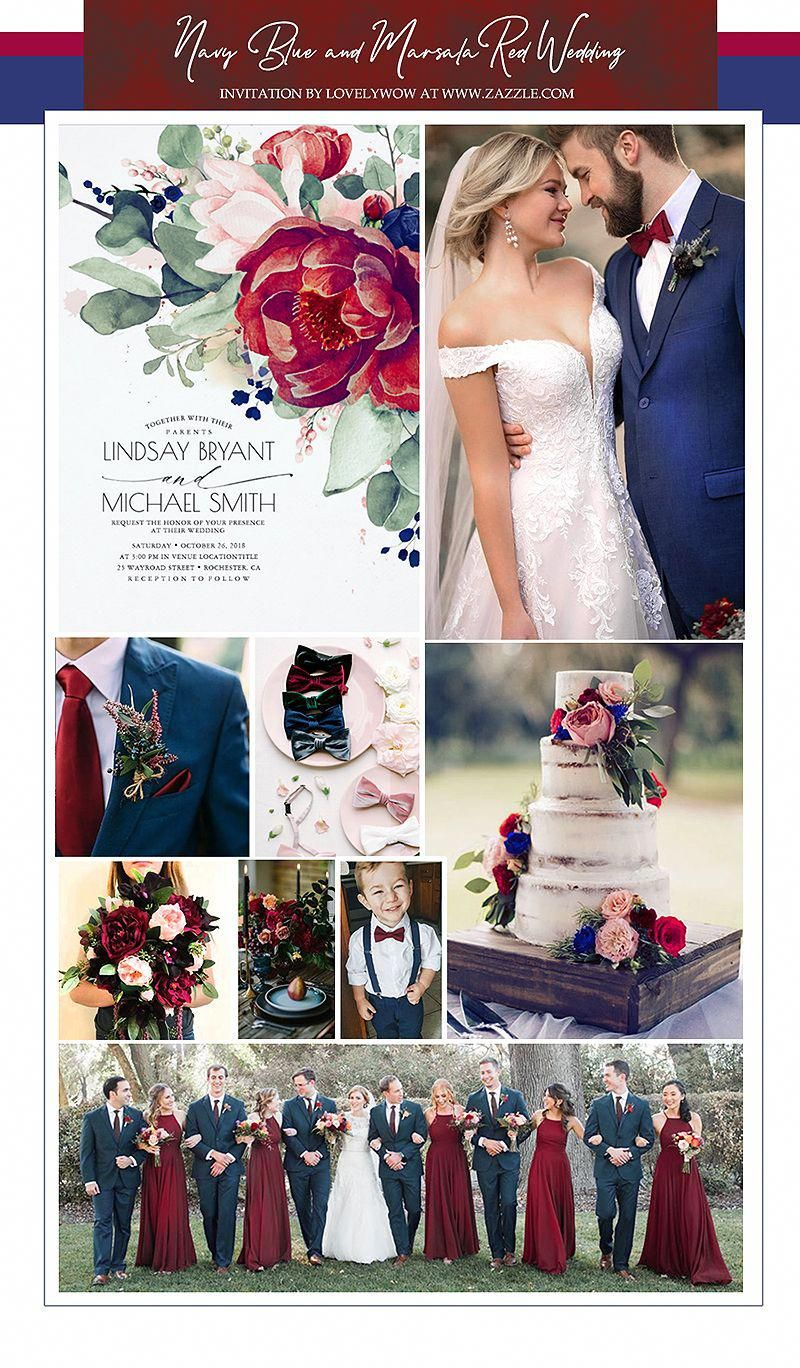 Burgundy Blush Navy Blue Floral Elegant Wedding Invitation | Zazzle.com