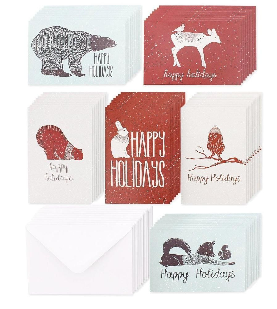 Christmas Greeting Cards 6 Assorted Winter Animal Designs For