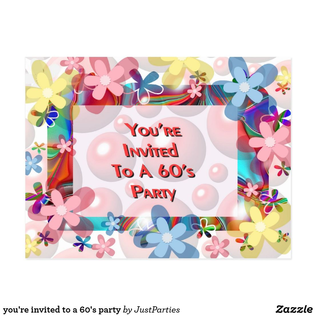 you\'re invited to a 60\'s party postcard #1960s #1960partyinviation ...
