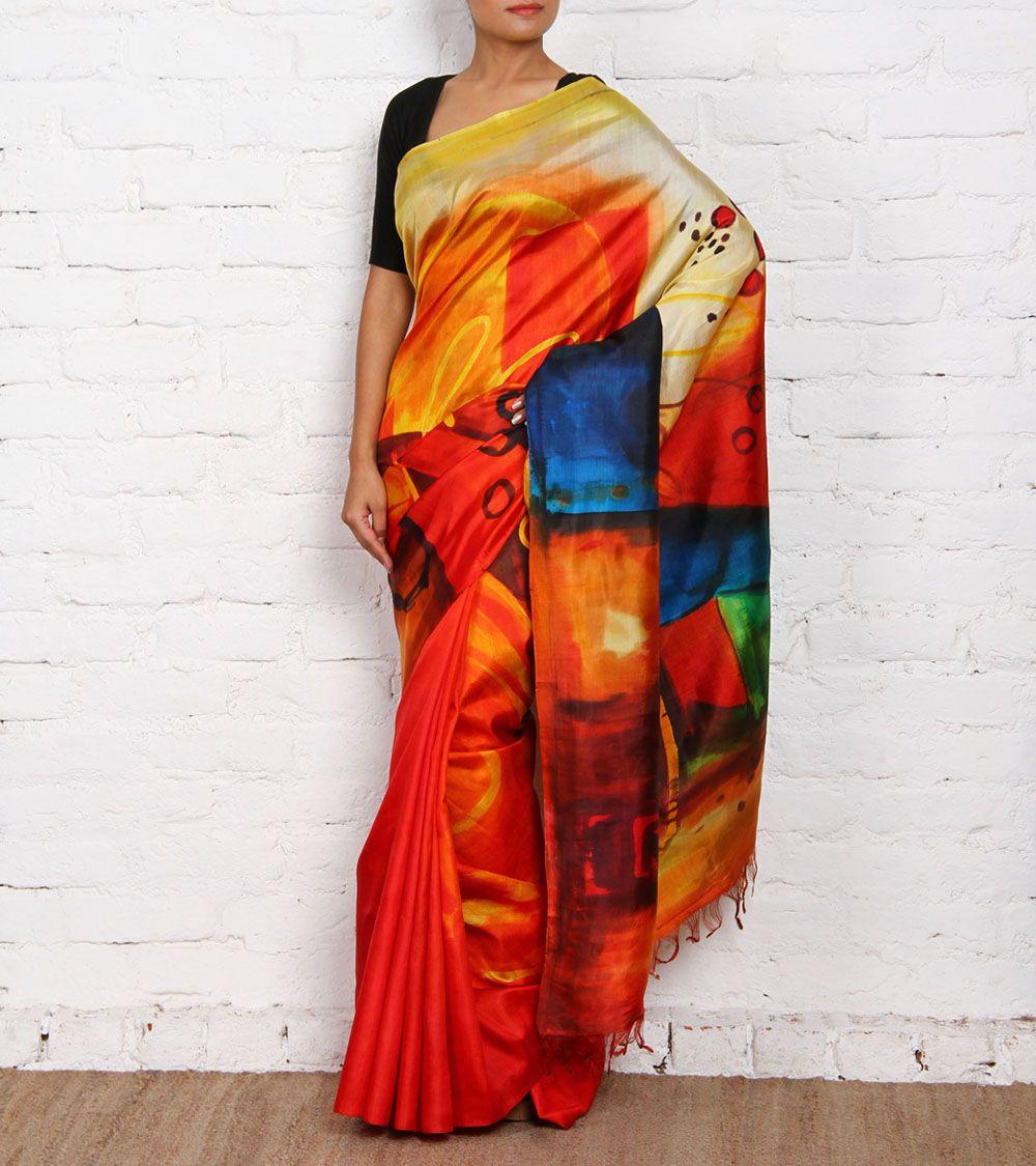 Pure silk saree multicoloured hand painted pure silk saree  handpainted  pinterest
