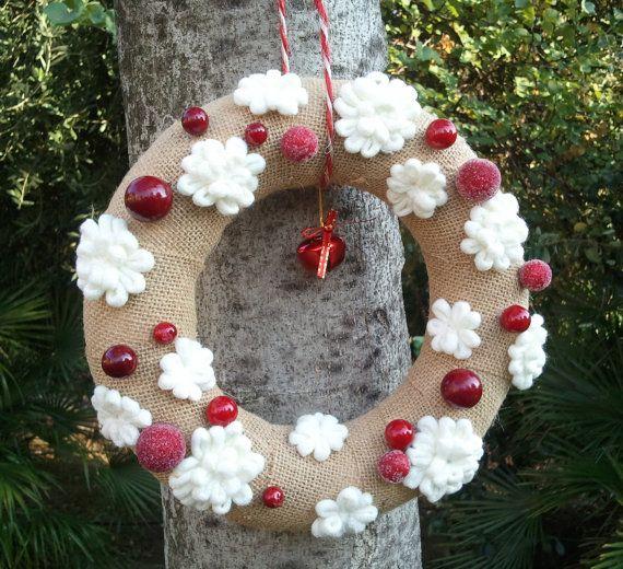 Italian Christmas burlap wreath with snow flakes and  berries, Christmas decor made in Italy, Christmas tree decor, Christmas ideas 2015
