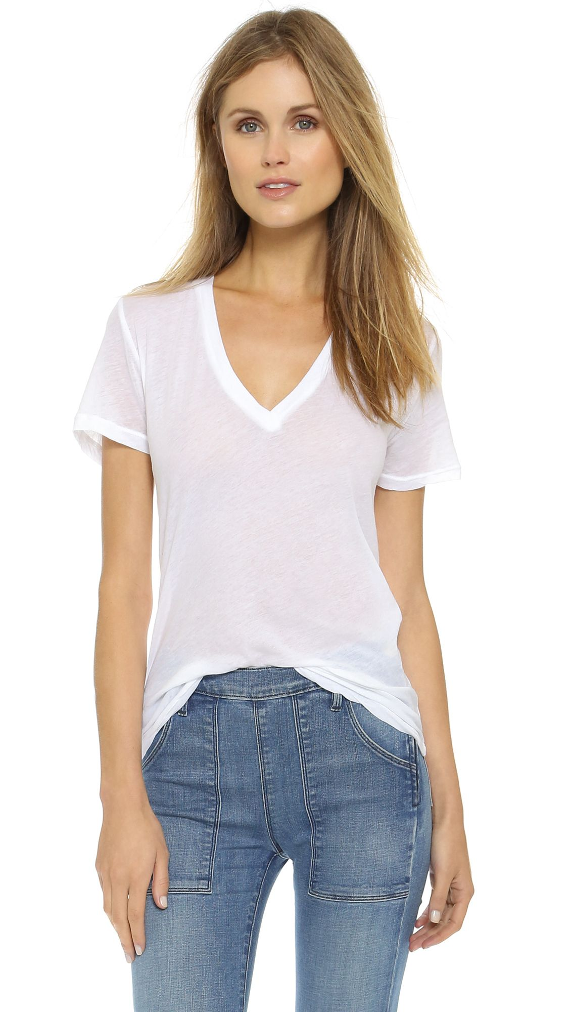women's v neck tee with pocket