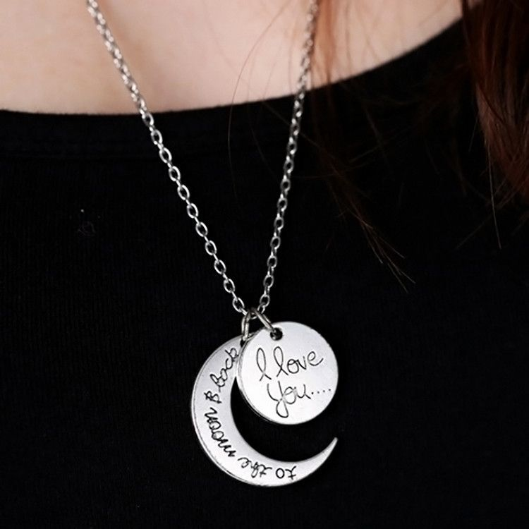 I Love You To The Moon And Back Necklace Vintage Fashion Women Jewelry Silver Color
