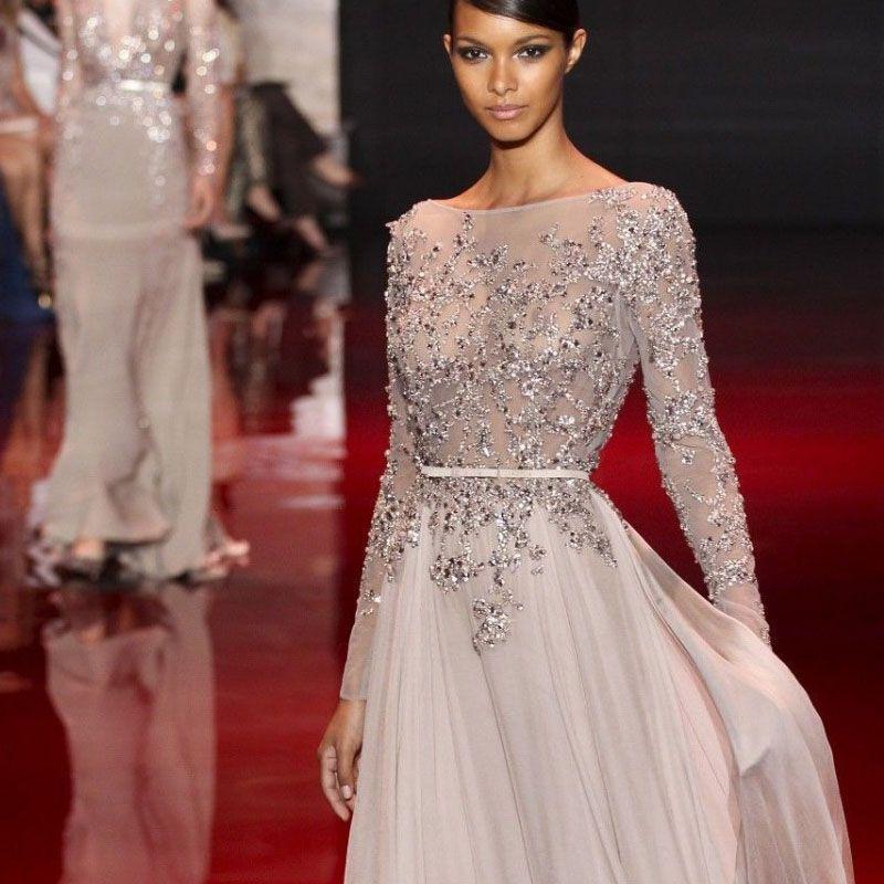 c043994d71e5 HOT silver grey zuhair murad evening dresses 2015 sexy open back beaded  chiffon evening gowns long sleeve muslim evening dresses(China (Mainland))