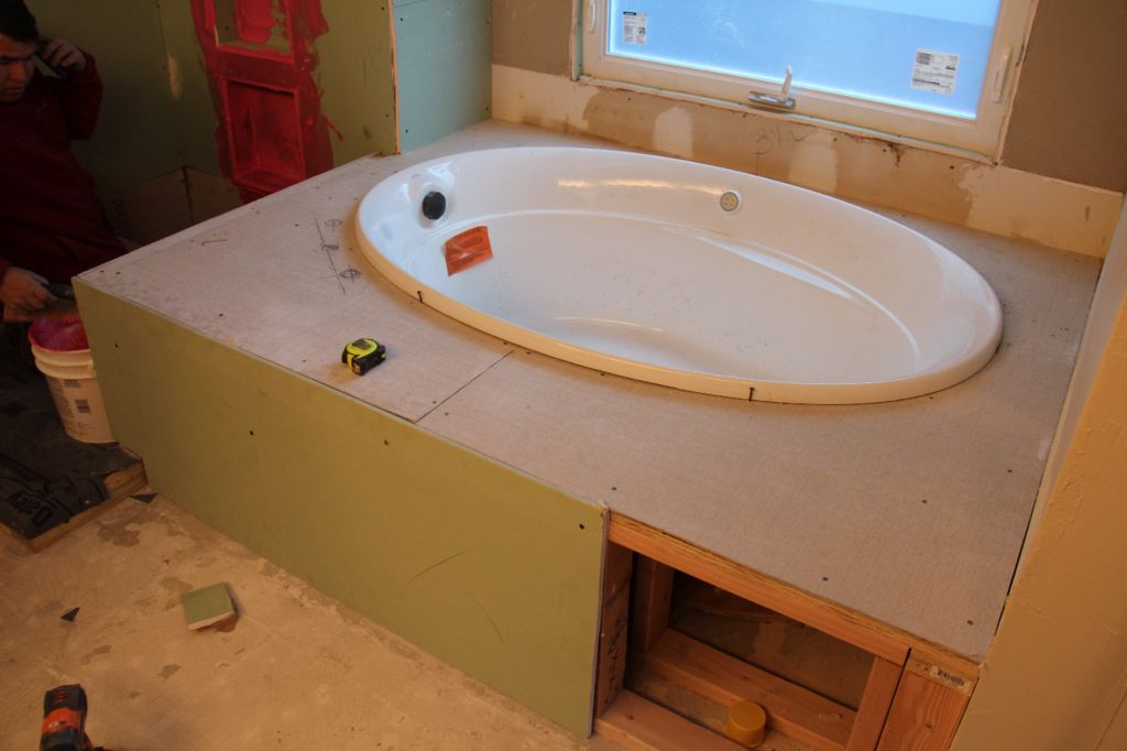 During...custom built tub deck for new #kohler air jet 60\