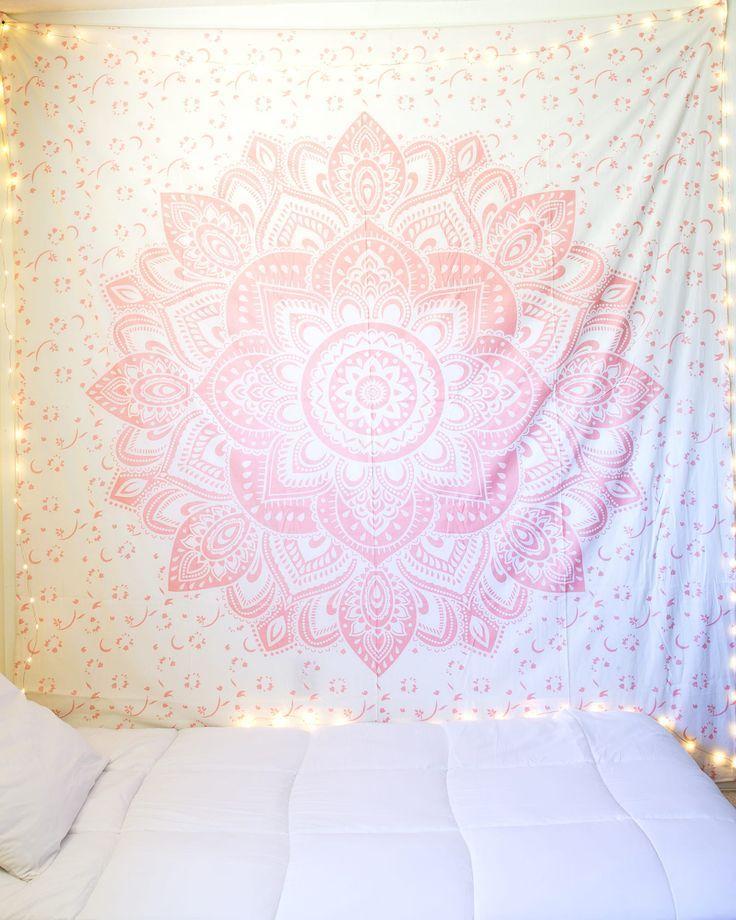 Best Light Sparkly Rose Gold Mandala Tapestry Pink Bedroom 640 x 480