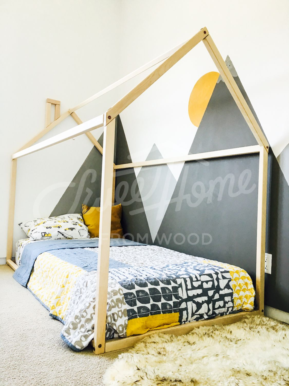 Toddler Bed House Bed Children Bed Wooden House Tent Bed Wood House Wood Nursery Kids Teepee Bed Wood Bed Frame Wood House Bed Kids Gift House Beds House Frame Bed Bed