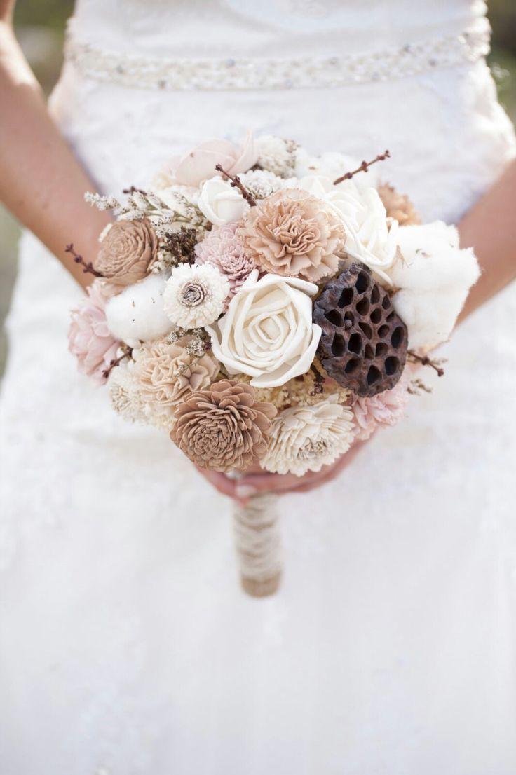 Large Wedding Bouquet Natural Cotton Ivory Lt. Brown, Tan Blush Pink ...