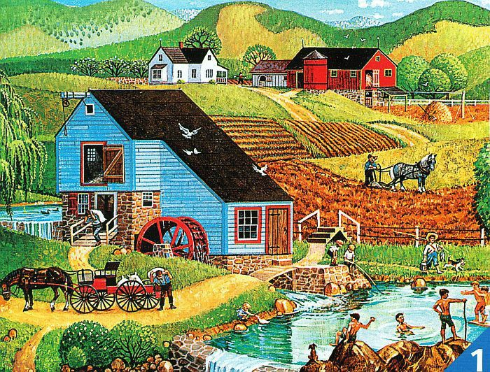"Bob Pettes ""THE OLD SWIMMIN' HOLE"" Farm Mill 100 Pieces BOXLESS Puzzle *100%* #Ceaco #JigsawPuzzle"