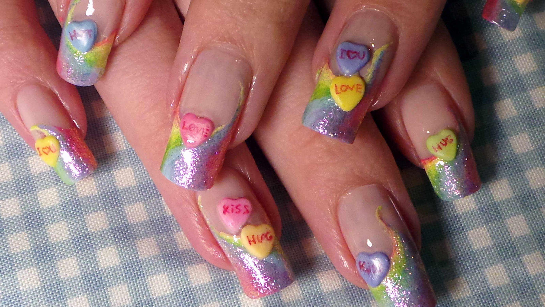 Easy Rainbow Candy Hearts Nail Art Tutorial Acrylic 3d Nail Art