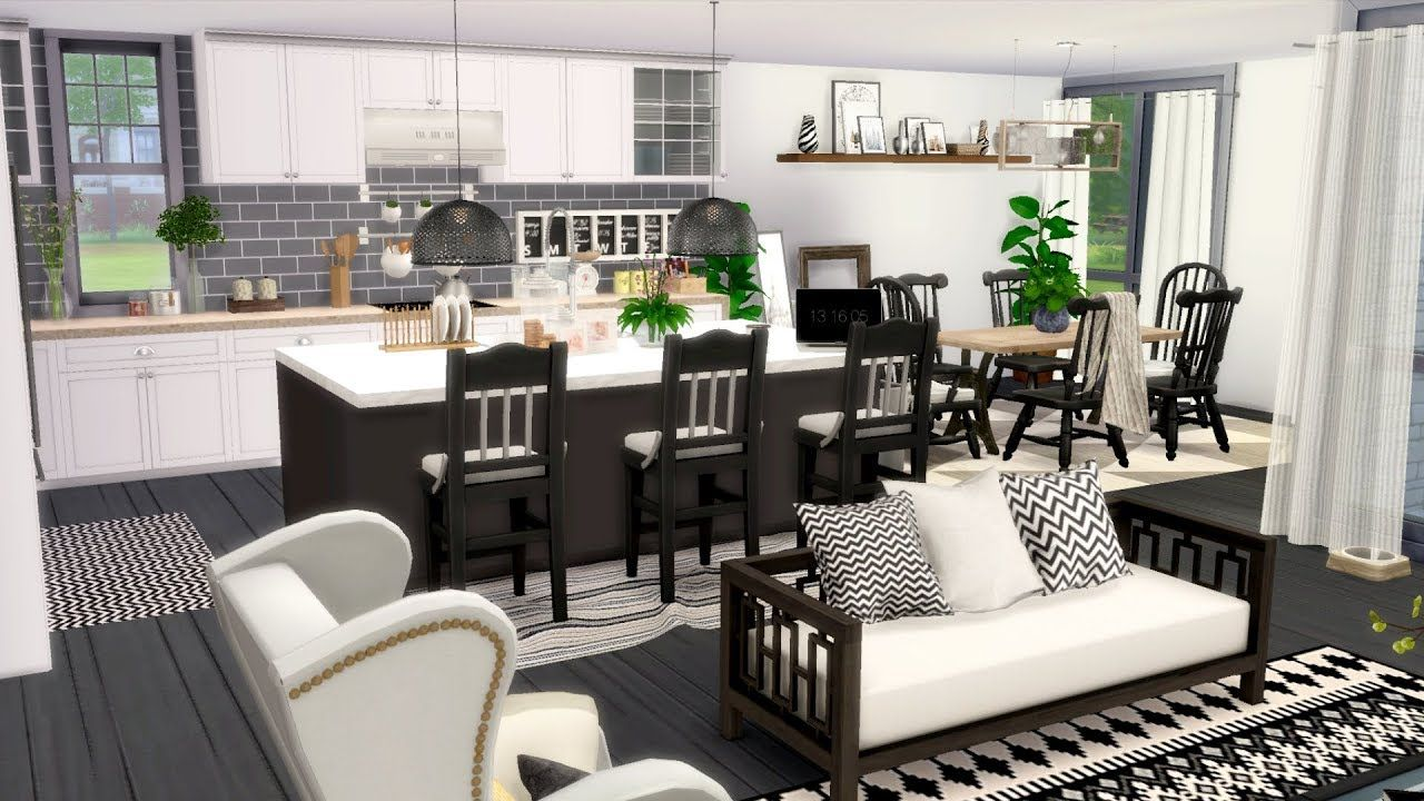 The Sims 4 Luxury Mid Century Modern House Speed Build Download Links Turquois Luxury Kitchen Design Luxury Kitchen Design Mansions Kitchen Decor Styles