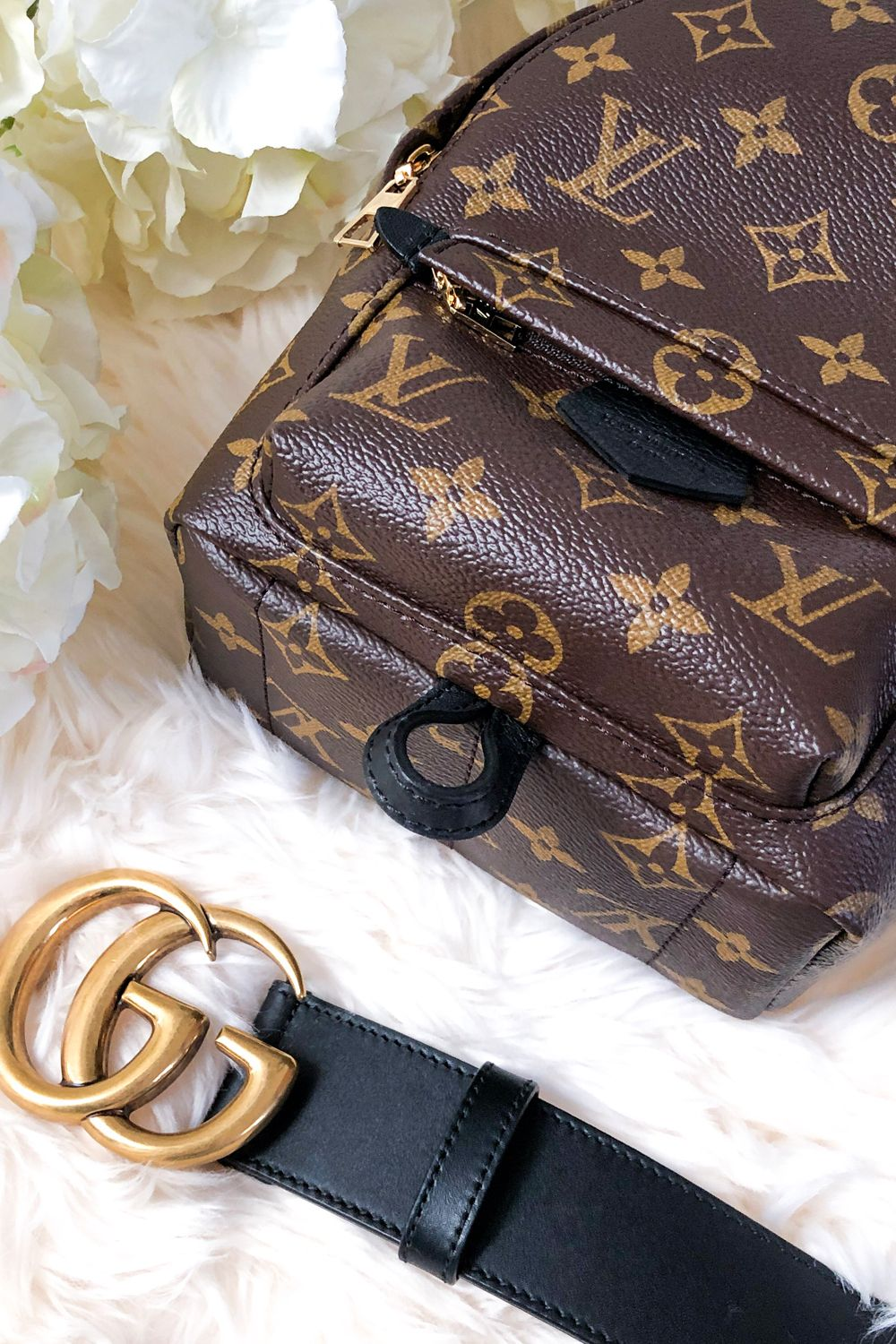 Louis Vuitton Palm Springs Mini Backpack with Gucci Belt