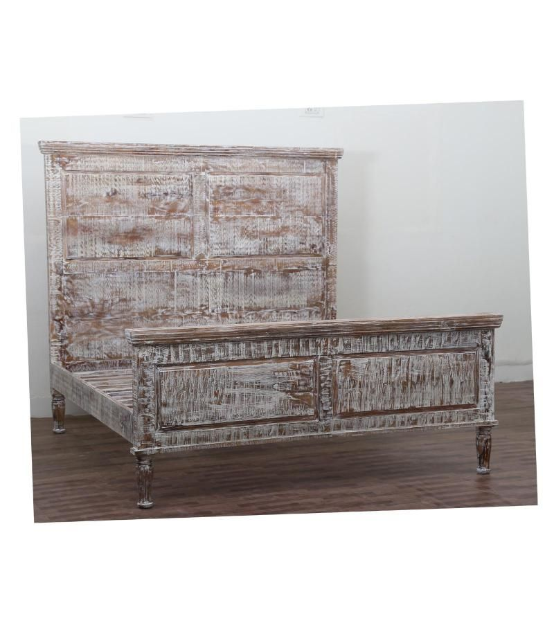 Solid Wood Distressed White Wash Queen Size Bed Hand Made