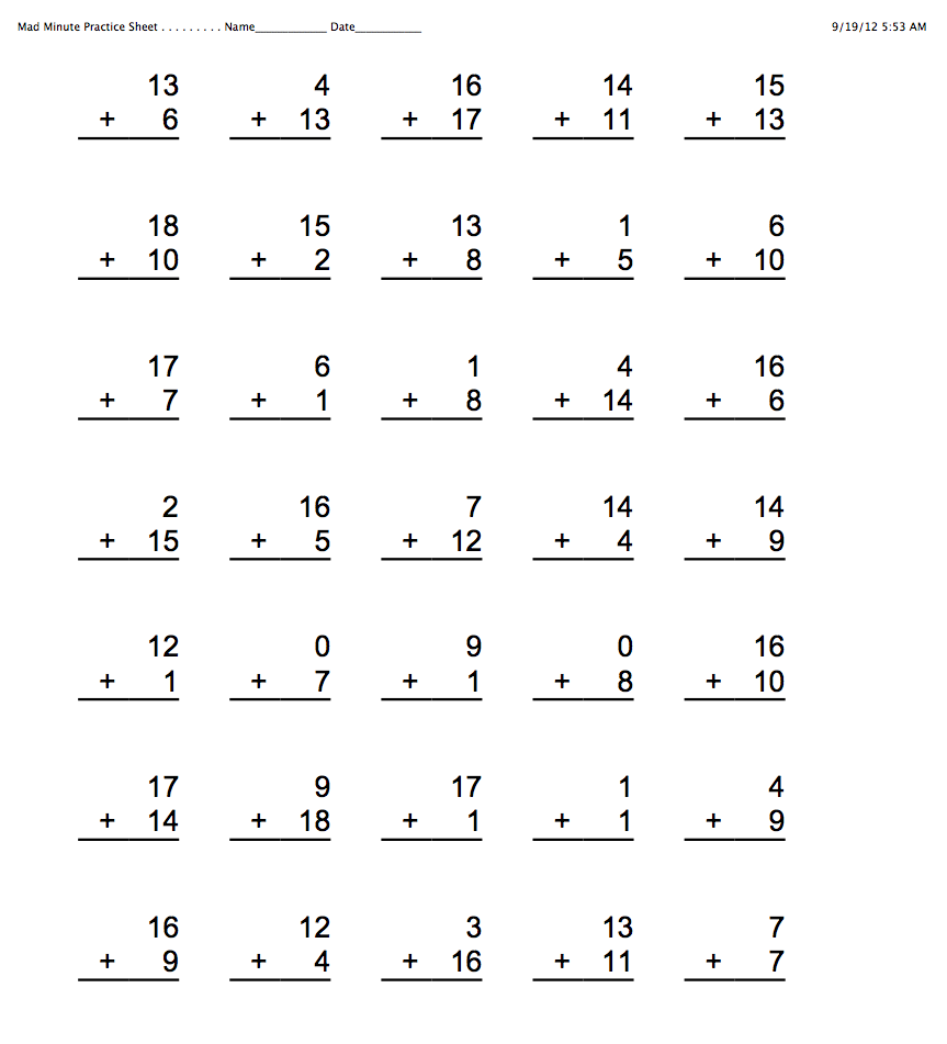 Collection of Mad Math Minute Worksheets Bloggakuten – Minute Maths Worksheets