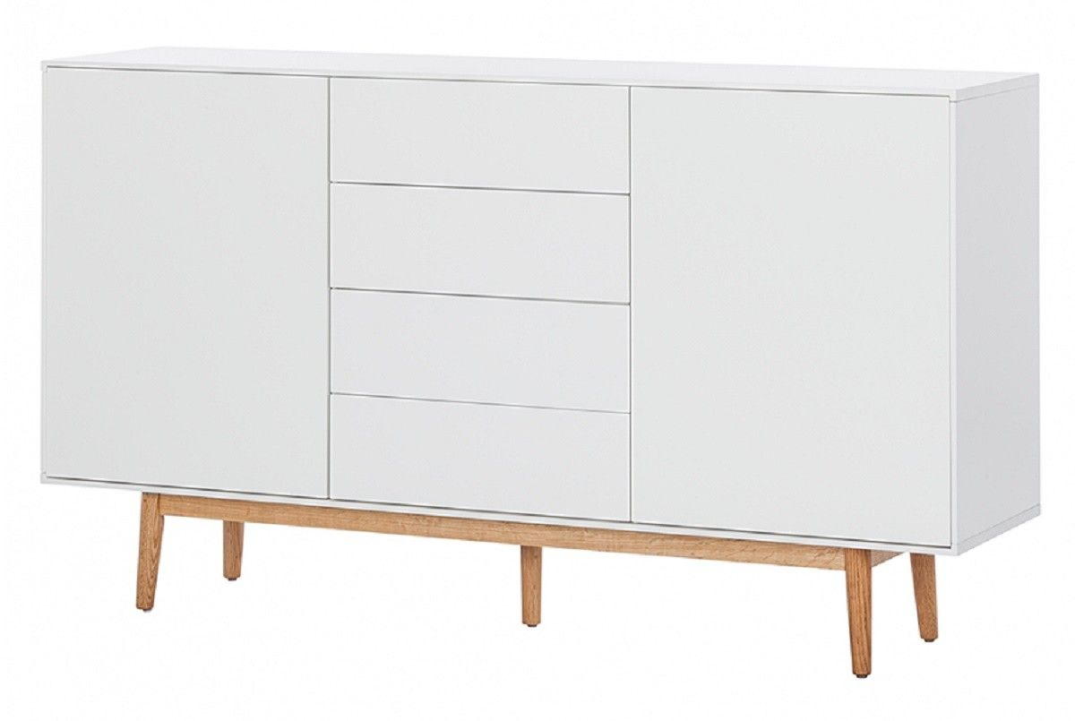 buffet haut design bois massif blanc mat 2 portes 4 tiroirs leova ii salon salle manger. Black Bedroom Furniture Sets. Home Design Ideas