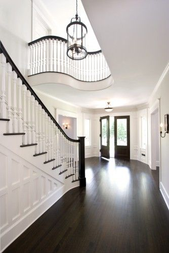 Love The Dark Floors Wainscoting And Lighting Fixtures Hardwood