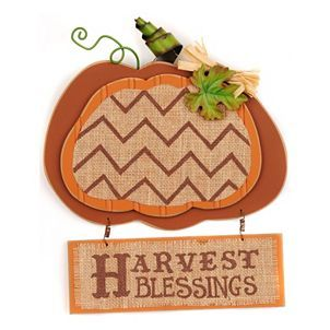 Burlap & Beadboard Harvest Blessings Plaque