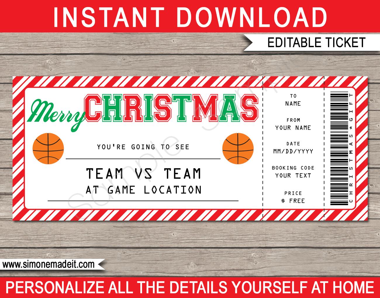 Christmas Basketball Ticket Gift Voucher   Printable Basketball ...