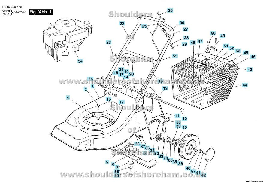 Qualcast Quad trak 45 F016 L80 442 Spare parts, Rotary