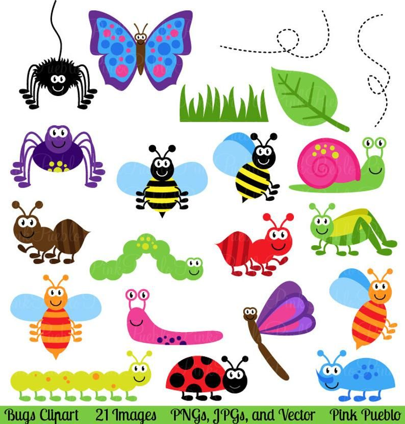 Bugs Clipart Clip Art Insects Clipart Clip Art Vectors Etsy In 2021 Insect Clipart Clip Art Stationery Stamp