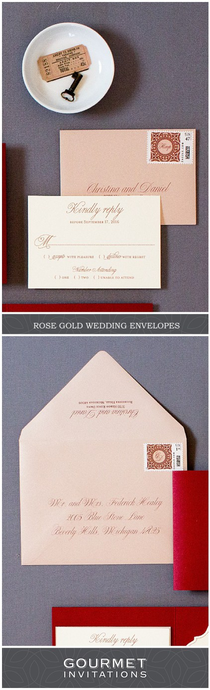 how many stamps do i need for my wedding invitations%0A Rose Gold Wedding Invitation