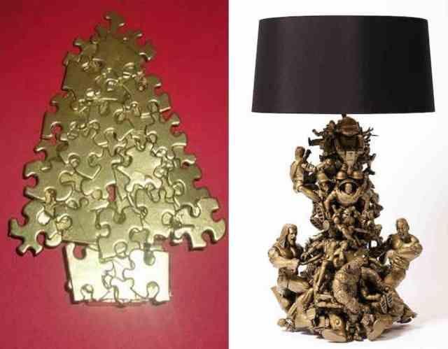 Kerstboom van puzzelstukjes
