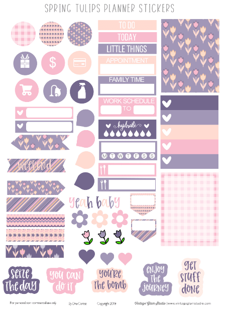 Spring Tulips Planner Stickers Printable Bullet Journal Stickers Free Planner Stickers Journal Stickers