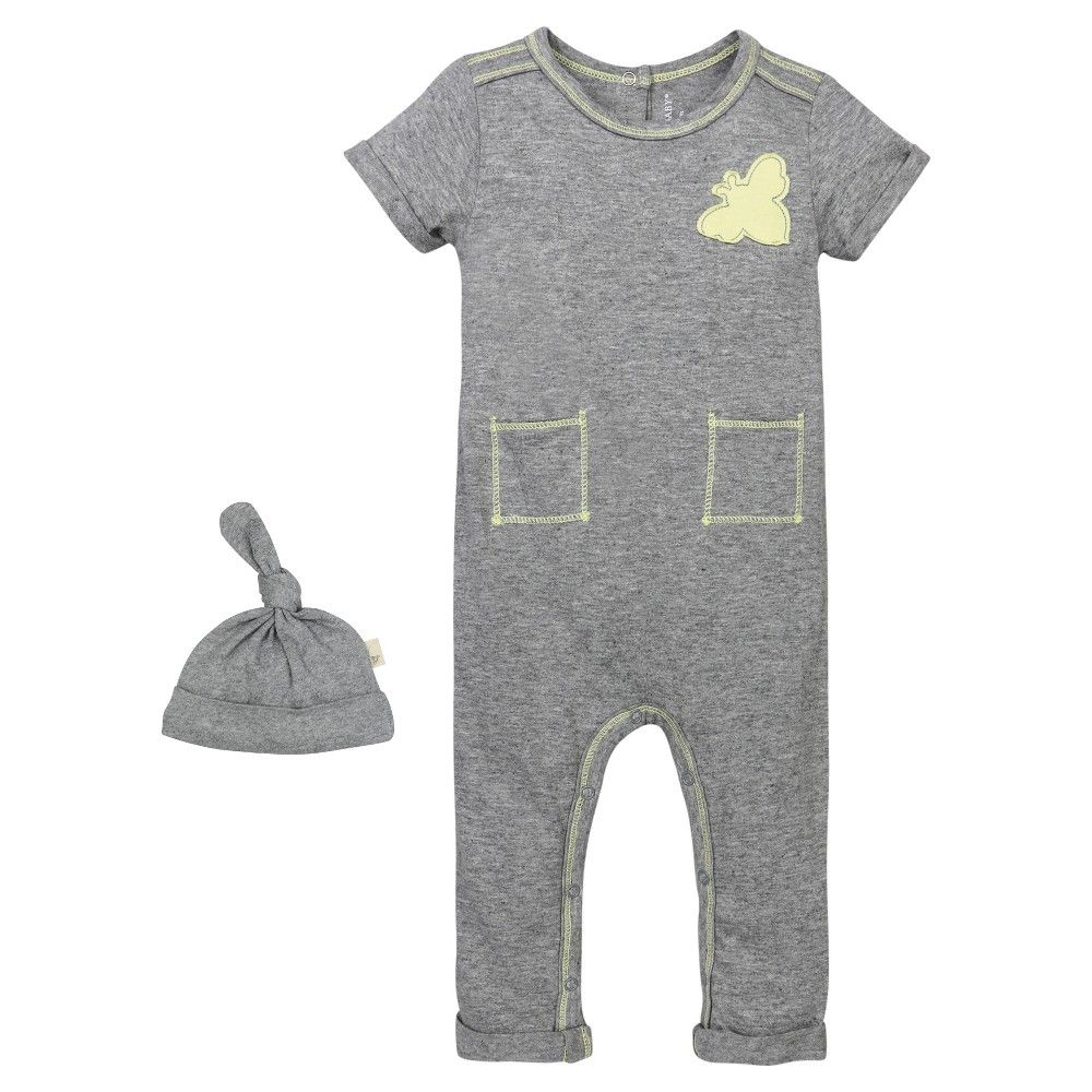 Babys' Patch Pocket Coverall and Hat Set Heather Grey 6-9 M - Burt's Bees Baby, Infant Unisex, Gray