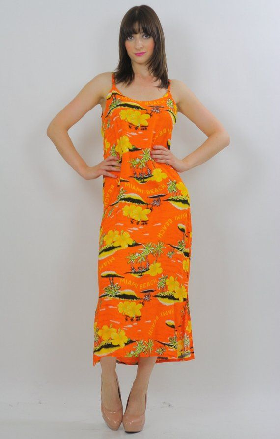Tropical Dress Miami Florida Print Orange Beach Sundress Cover Up Spaghetti Strap Oversized Palm Tre
