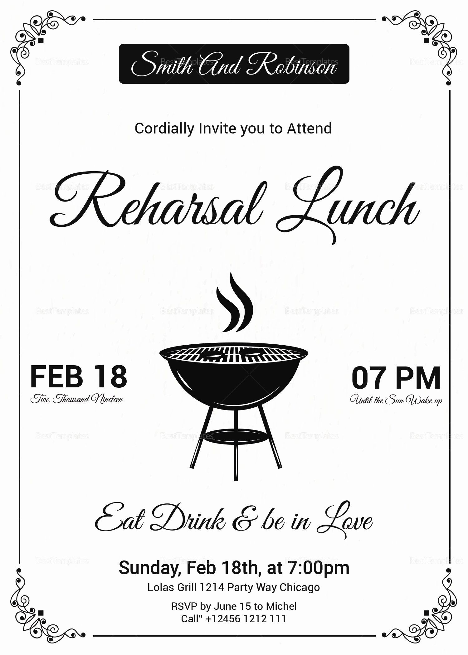 Elegant Free Lunch Invitation Template In 2020 Holiday Party