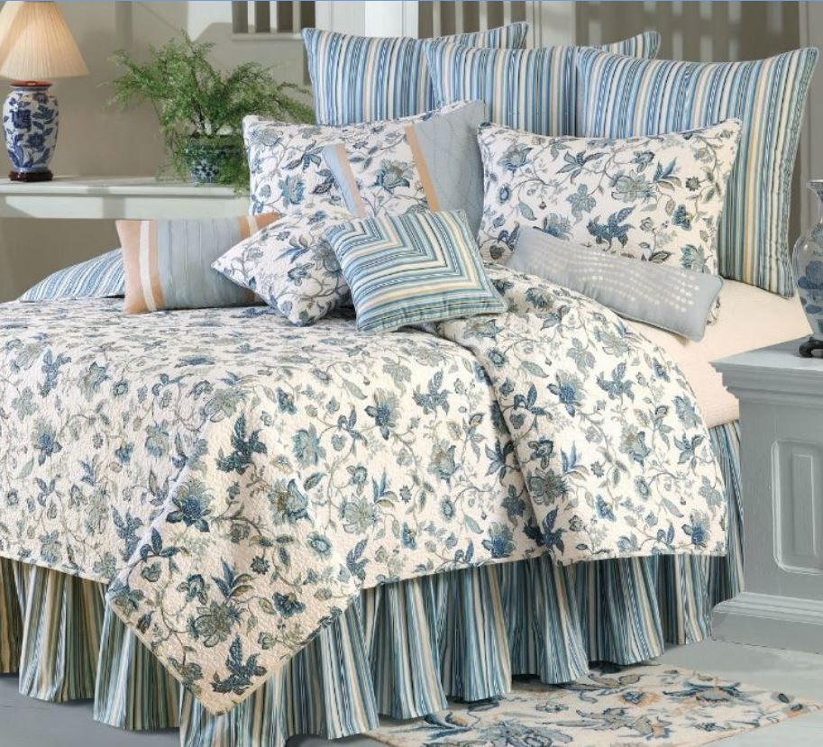 BLUE JACOBEAN Full / Queen QUILT SET - WILLIAMSBURG TEAL ...