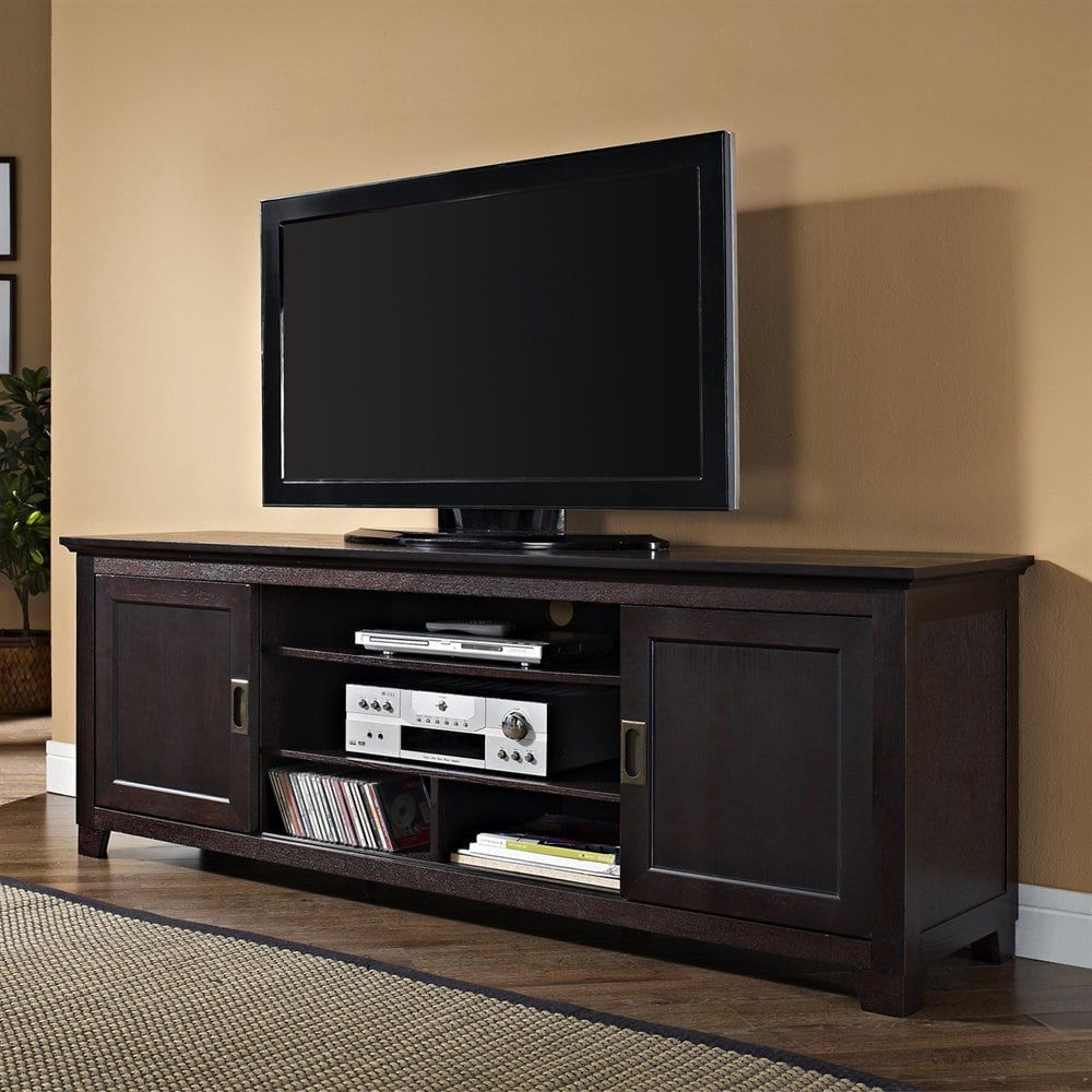 Shop Walker Edison W70c25sd 70 In Tv Console With Sliding Doors At The Mine Browse Our Tv Stands All W Sliding Door Tv Stand Tv Stand Cabinet Wood Tv Console