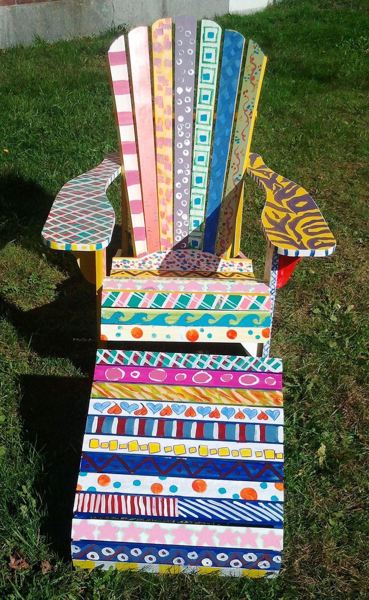 Adirondack chair painted by freshman foundations art class
