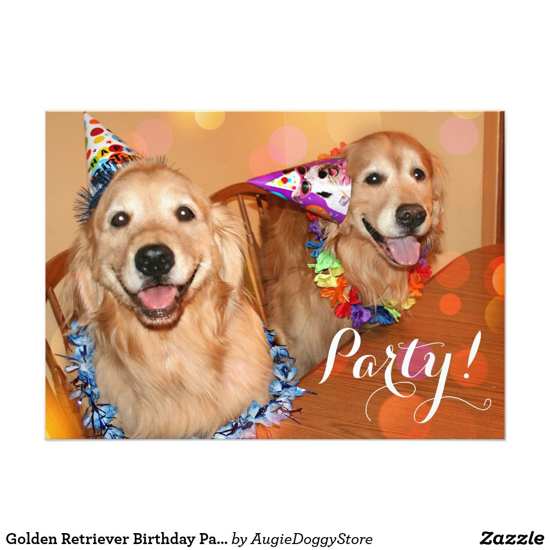 Happy Golden Retriever Dogs Birthday Party Invitation Zazzle Com