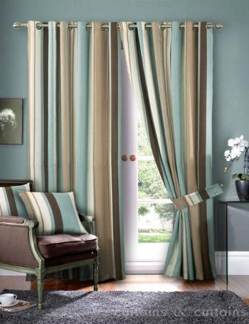 Striped Faux Silk Curtains Duck Egg Blue Cream Eyelet Lined Curtain Pair In Home Furniture Diy Blinds Pelmets