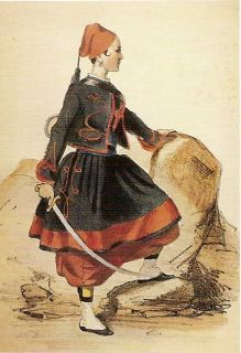 """*FRENCH ZUAVES VIVANDIERE  (sometimes known as """"Cantiniéres"""")~ca.1861 Her uniform is not as colorful as the vivandieres bar in the imperial guard.There was a more legitimate form which women could participate in the war in uniform. Vivandiere.The uniform draws strong paraleler to the maleZuaves uniforms.Vivandieres gained both in northern+southern states, armed with brandy in their small barrels."""