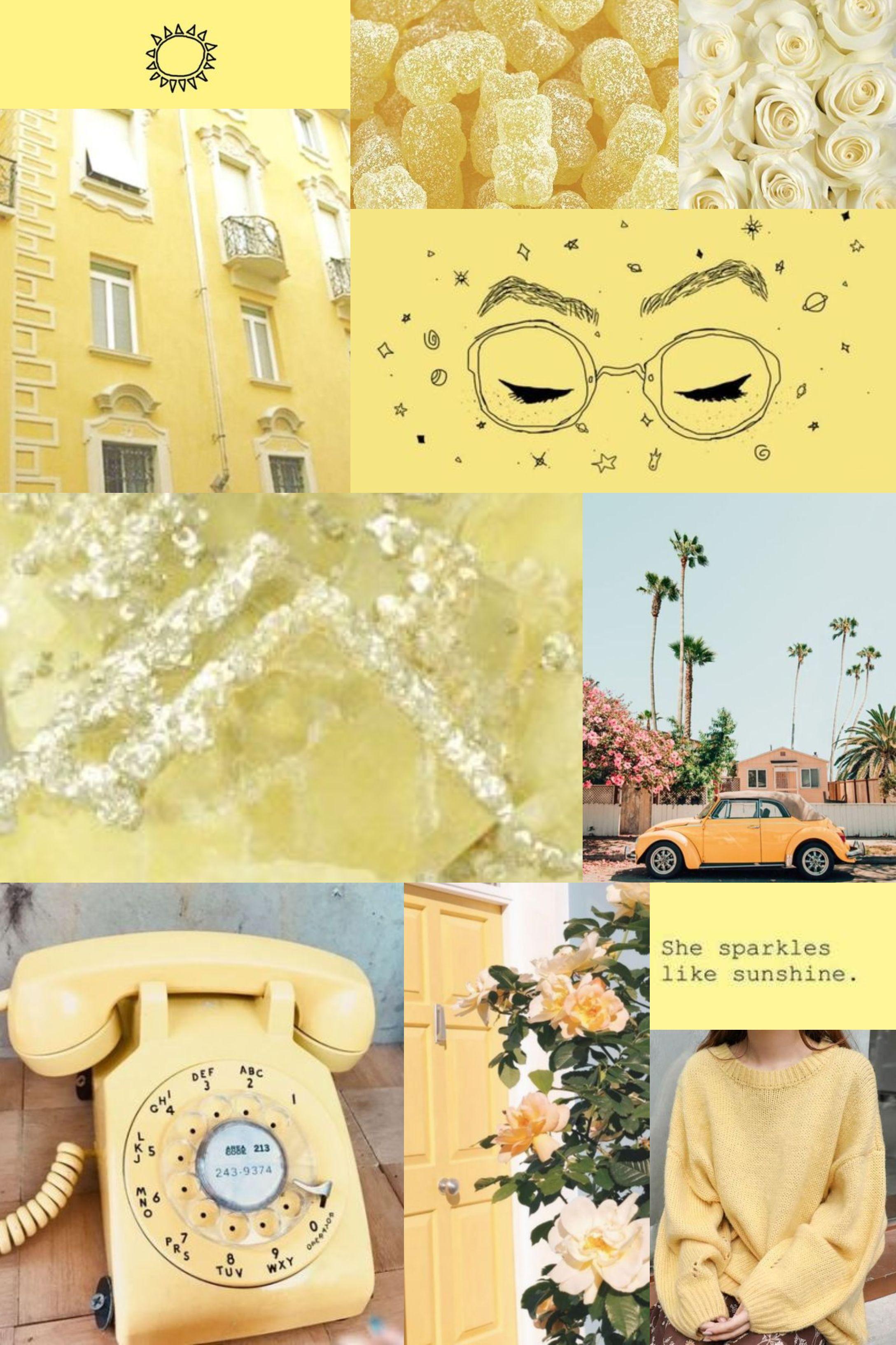 Light Yellow Mood Board Aesthetic Collage Wallpaper Yellow Aesthetic Pastel Yellow Aesthetic Aesthetic Collage Aesthetic wallpaper collage yellow