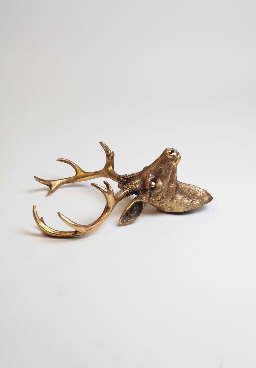 White Faux Taxidermy - The Compton | Small Stag Deer Head | Faux Taxidermy | Antique Gold Resin, $54.99 (http://www.whitefauxtaxidermy.com/product/small-stag-deer-head-faux-taxidermy-antique-gold-resin/)