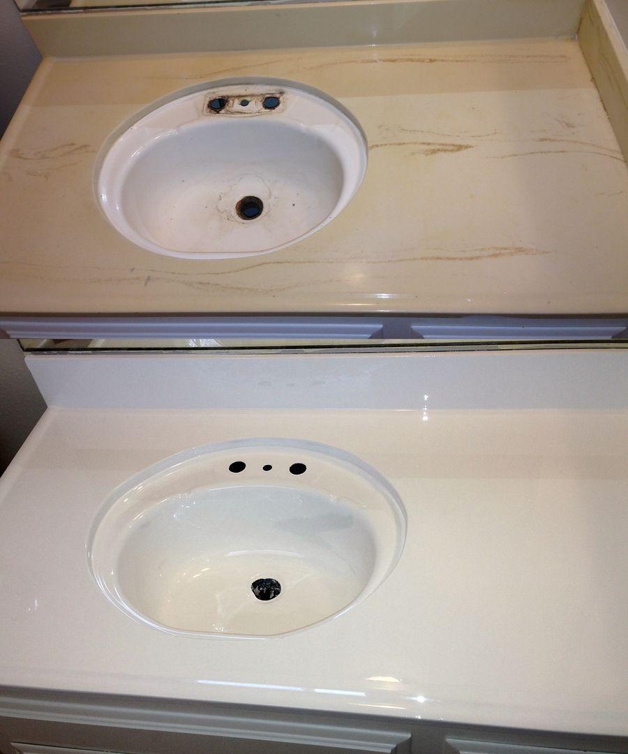 Spulbecken Reglazing Auf Einem Acryl Waschbecken Spulbecken