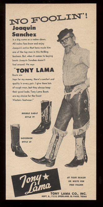 1957 Rodeo Clown Joaquin Sanchez Photo Tony Lama Cowboy
