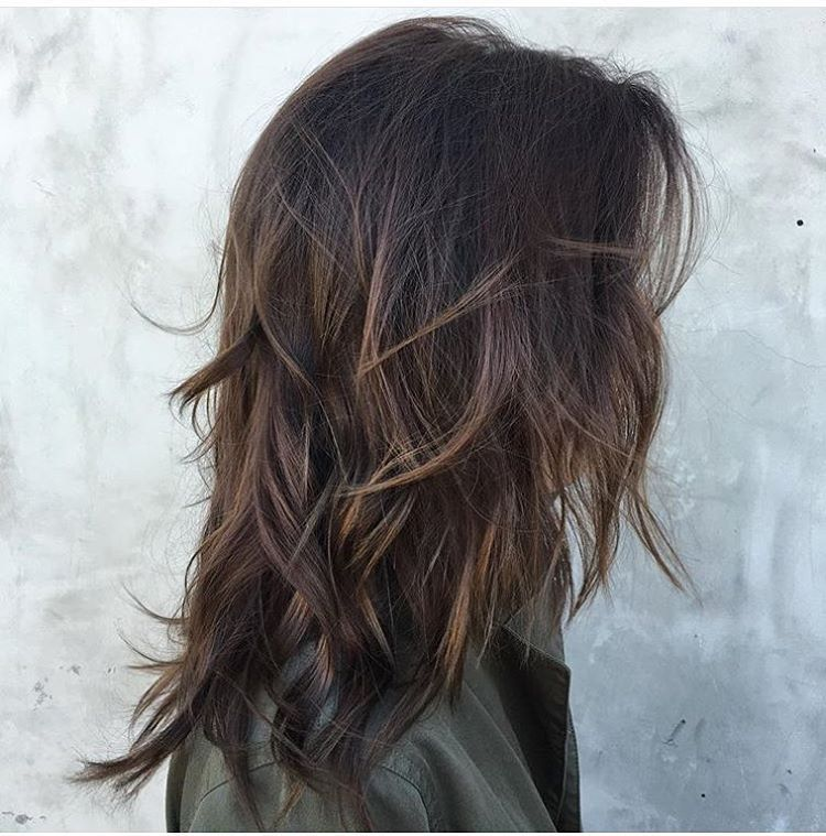 Messy Dark-Brown Waves with Long Layers | Medium Length Wavy Layers ...