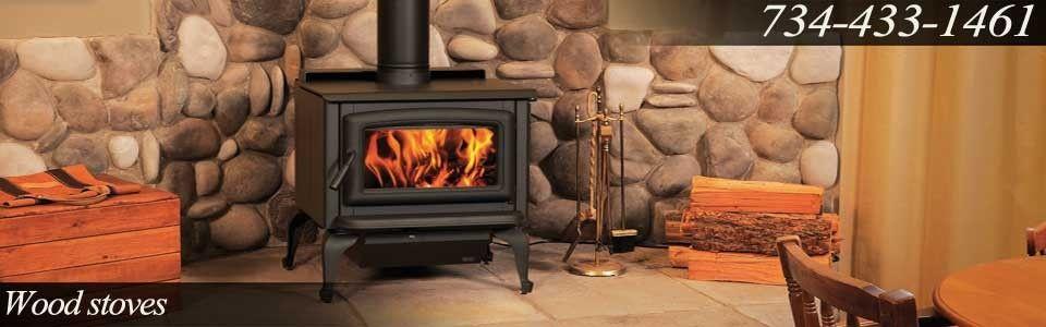 Stone Wood Stove Chimney Design Wood