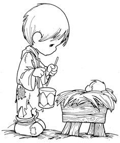 Precious Moments Little Drummer Boy and Baby Jesus Coloring Page ...
