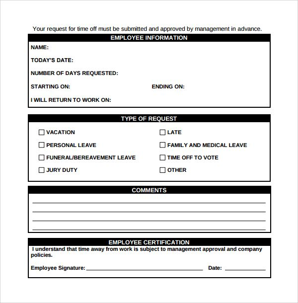 Image Result For Pto Request Form Template Time Off Request Form Word Template Return To Work